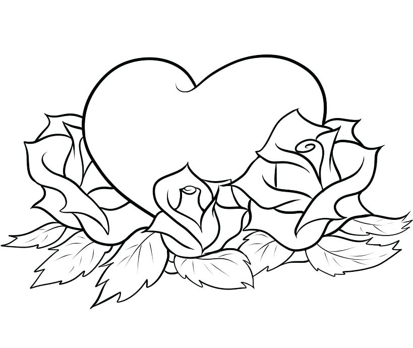 819x690 Coloring Pages Of Hearts And Roses Coloring Page Of A Heart