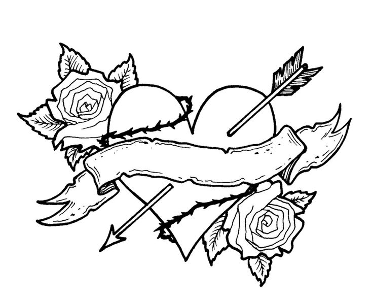 736x593 Heart With Roses Coloring Pages