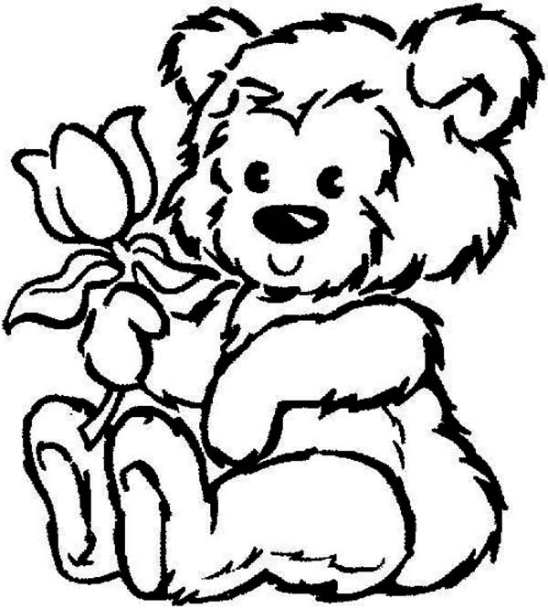 600x666 Picture Of Fluffy Teddy Bear Hold A Rose Coloring Page Color Luna