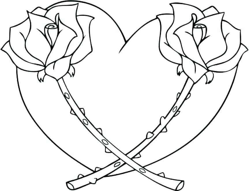 863x662 Roses Coloring Pages Coloring Page Of A Rose Hearts And Flowers