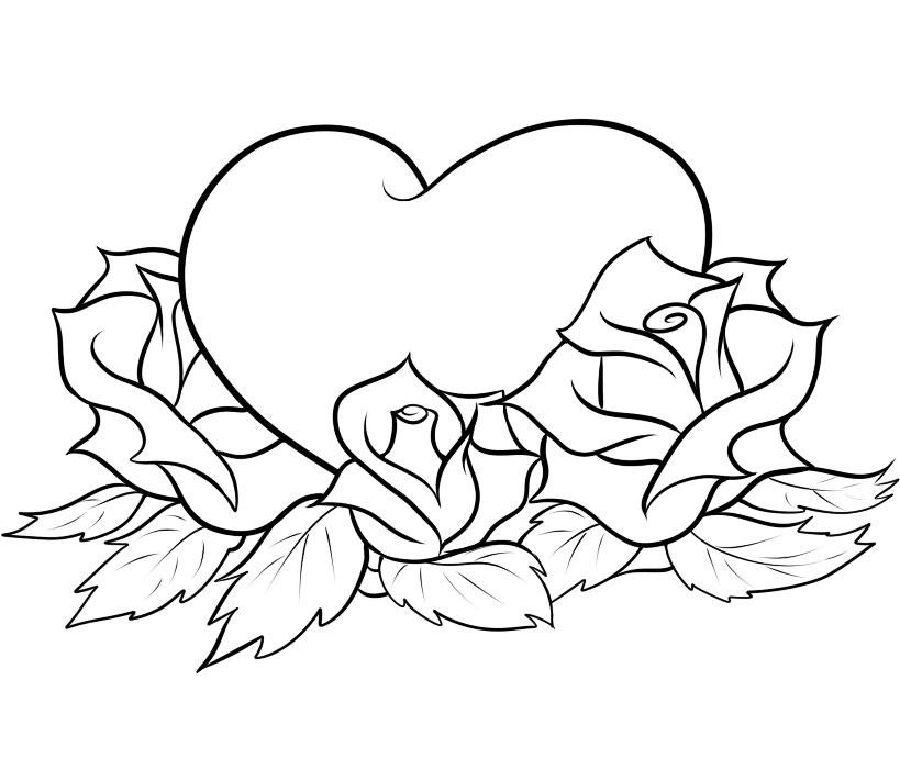 819x690 Hearts And Roses Coloring Pages