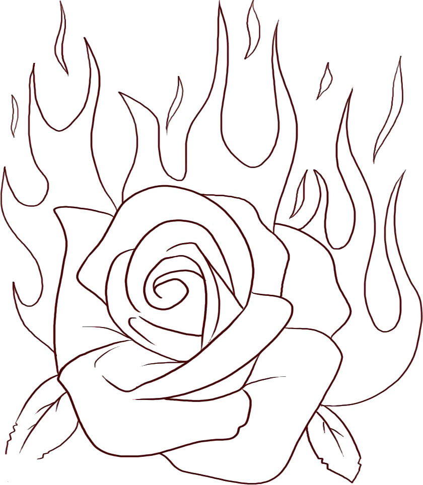 840x964 Coloring Book Rose Flame Flowers Pages Free Printable