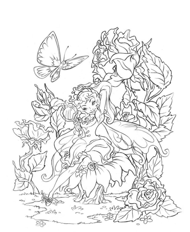 809x987 Butterfly Fairy Rose Coloring Pages Colouring Adult Detailed