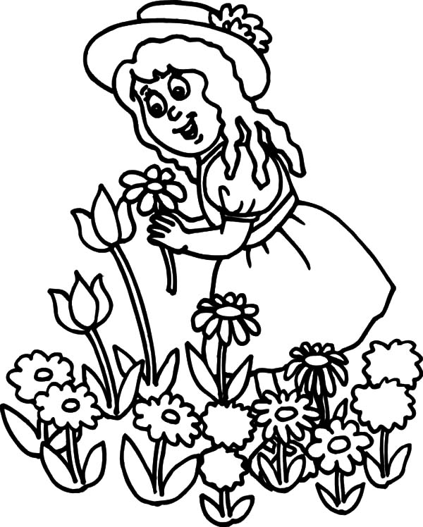 600x748 Little Girl Pick Flower In Garden Coloring Pages Little Girl Pick