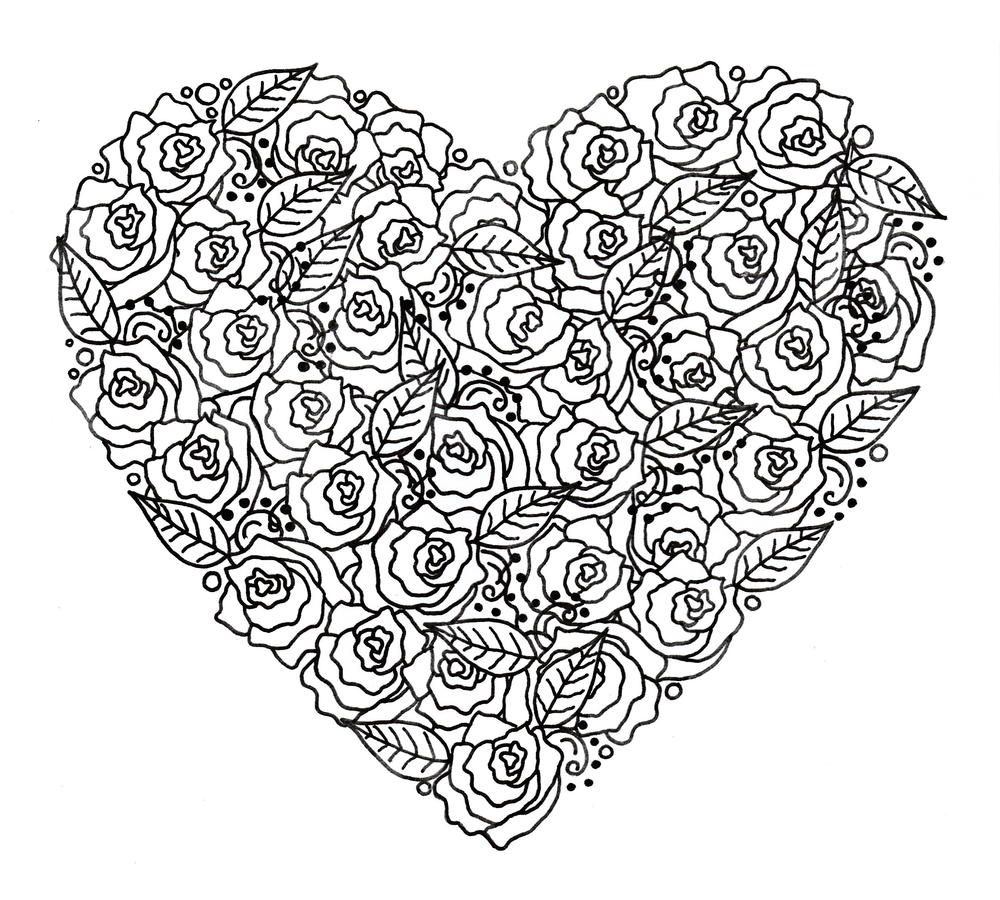 1000x900 Rose Garden Heart Adult Coloring Page