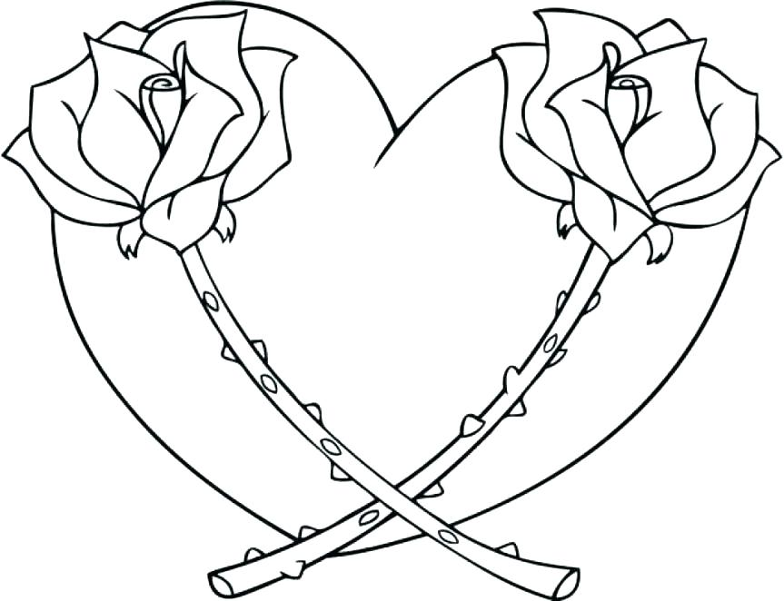863x662 Coloring Pages Hearts And Roses Heart Coloring Pages Printable