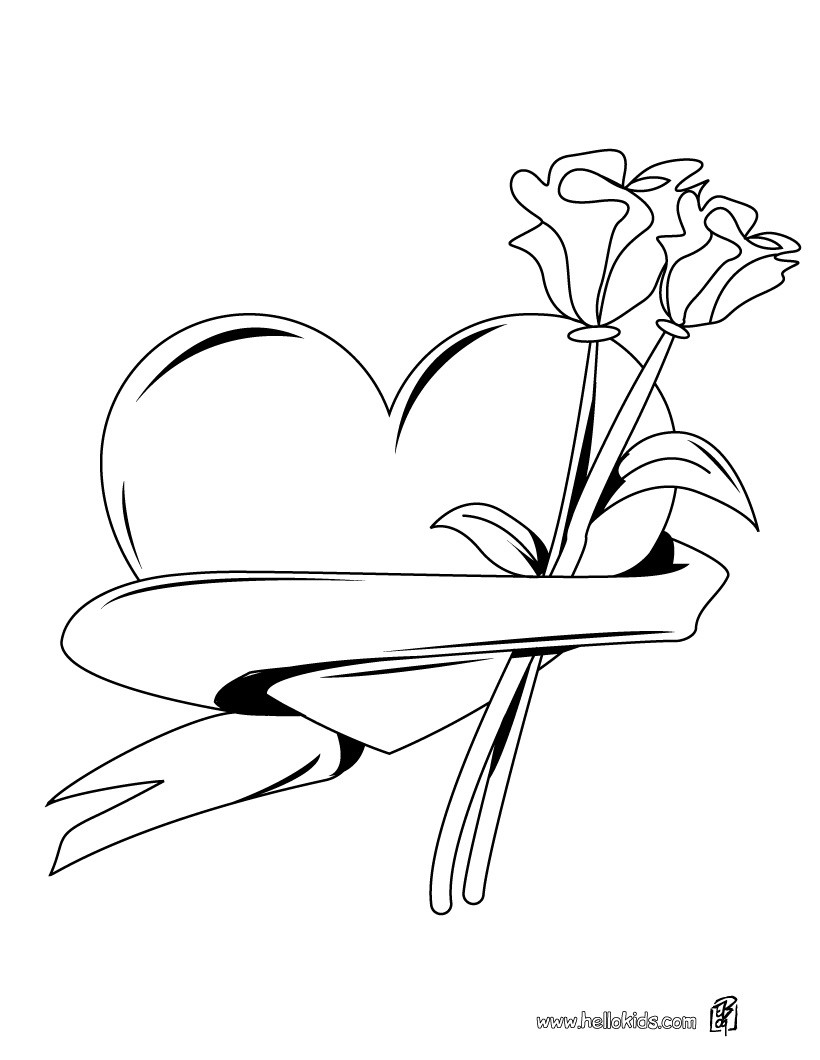 820x1060 Heart Roses Bunch Coloring Pages