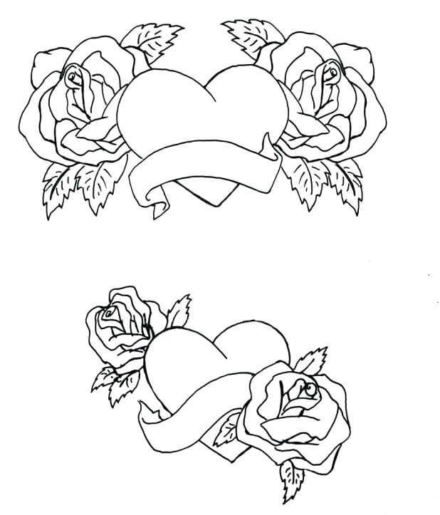 618x723 Hearts And Roses Coloring Pages Printable Hearts And Roses