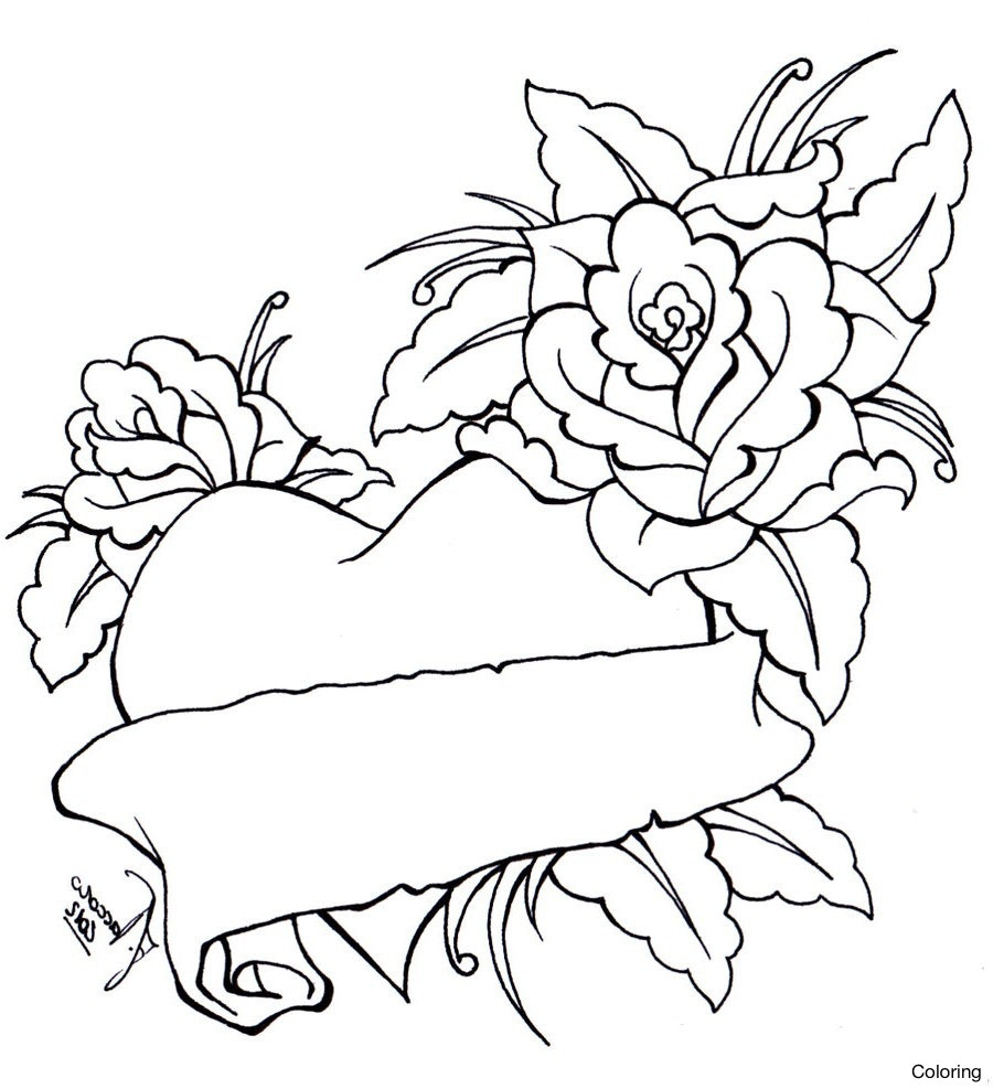 900x987 Rose And The Heart Coloring Page Roses Color Sheets