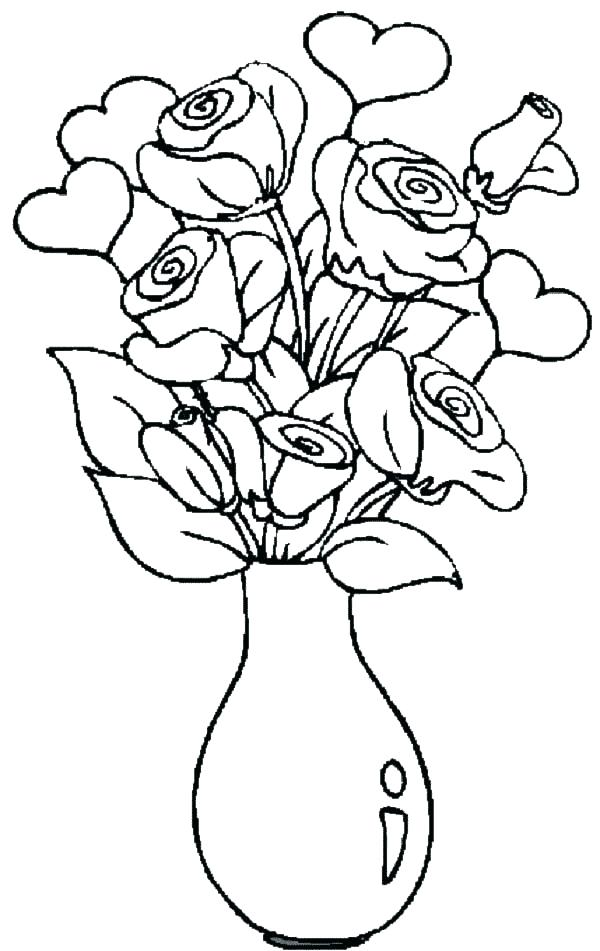 600x951 Roses And Hearts Coloring Pages Coloring Pages Of Hearts Roses