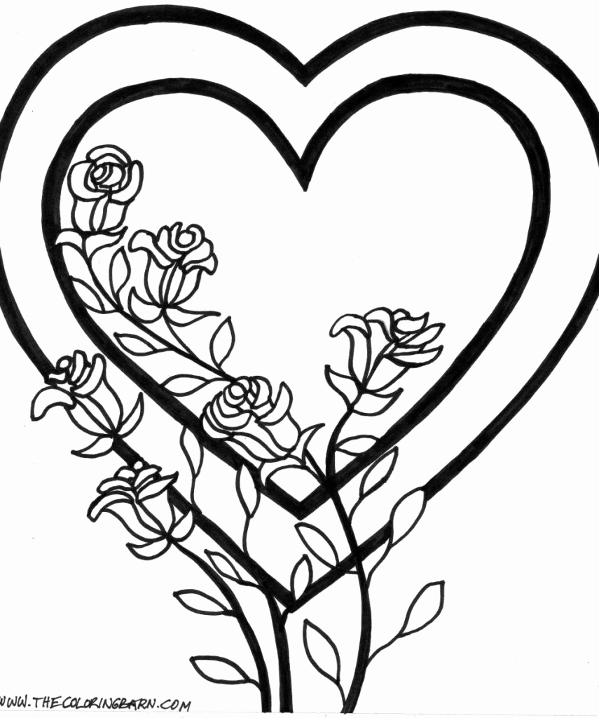 855x1024 Coloring Pages A Rose Heart With Roses Coloring Pages