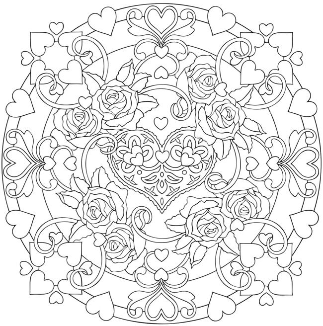 Rose Mandala Coloring Pages