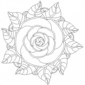 300x300 Rose Patterns For Coloring Rose Mandala Coloring Pages Craft