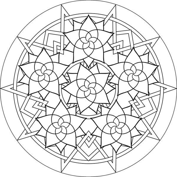 600x600 Roses Mandala Coloring Pages Batch Coloring