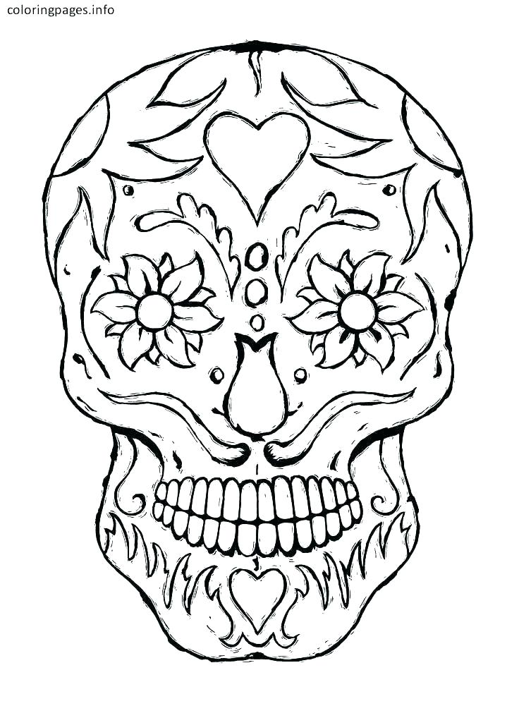 736x1001 Printable Sugar Skull Coloring Pages Roses Coloring Pages