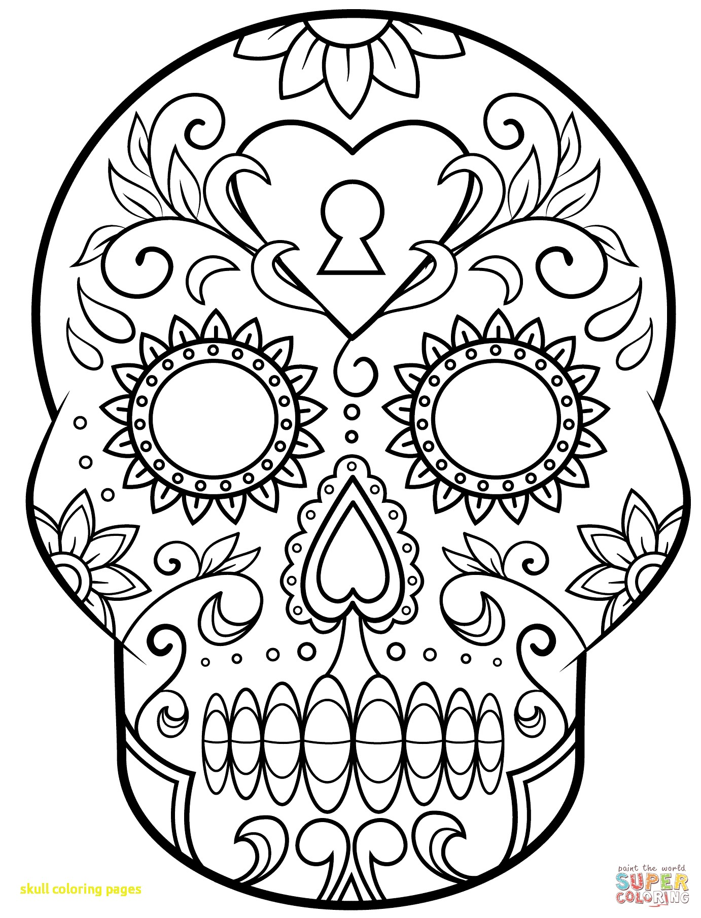 1382x1809 Skull Coloring Pages With And Roses Extraordinary