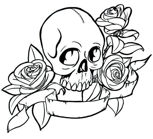 500x457 Skulls Coloring Pages Tattoo Pictures To Pin