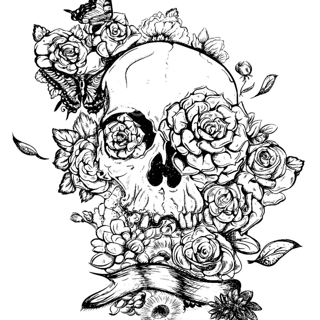 1224x1224 Sugar Skull Coloring Pages Free For Adults Printable Sheets