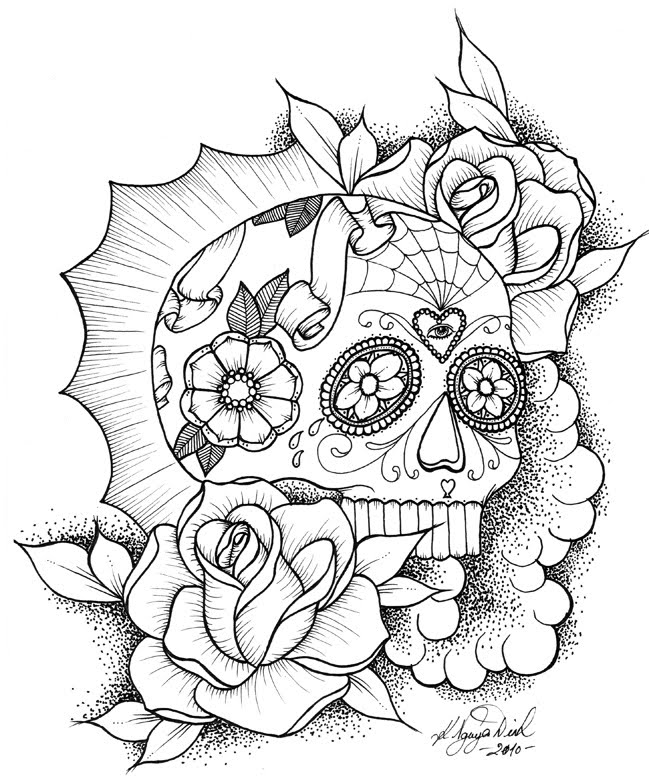 649x784 Sugar Skull With Roses Coloring Pages