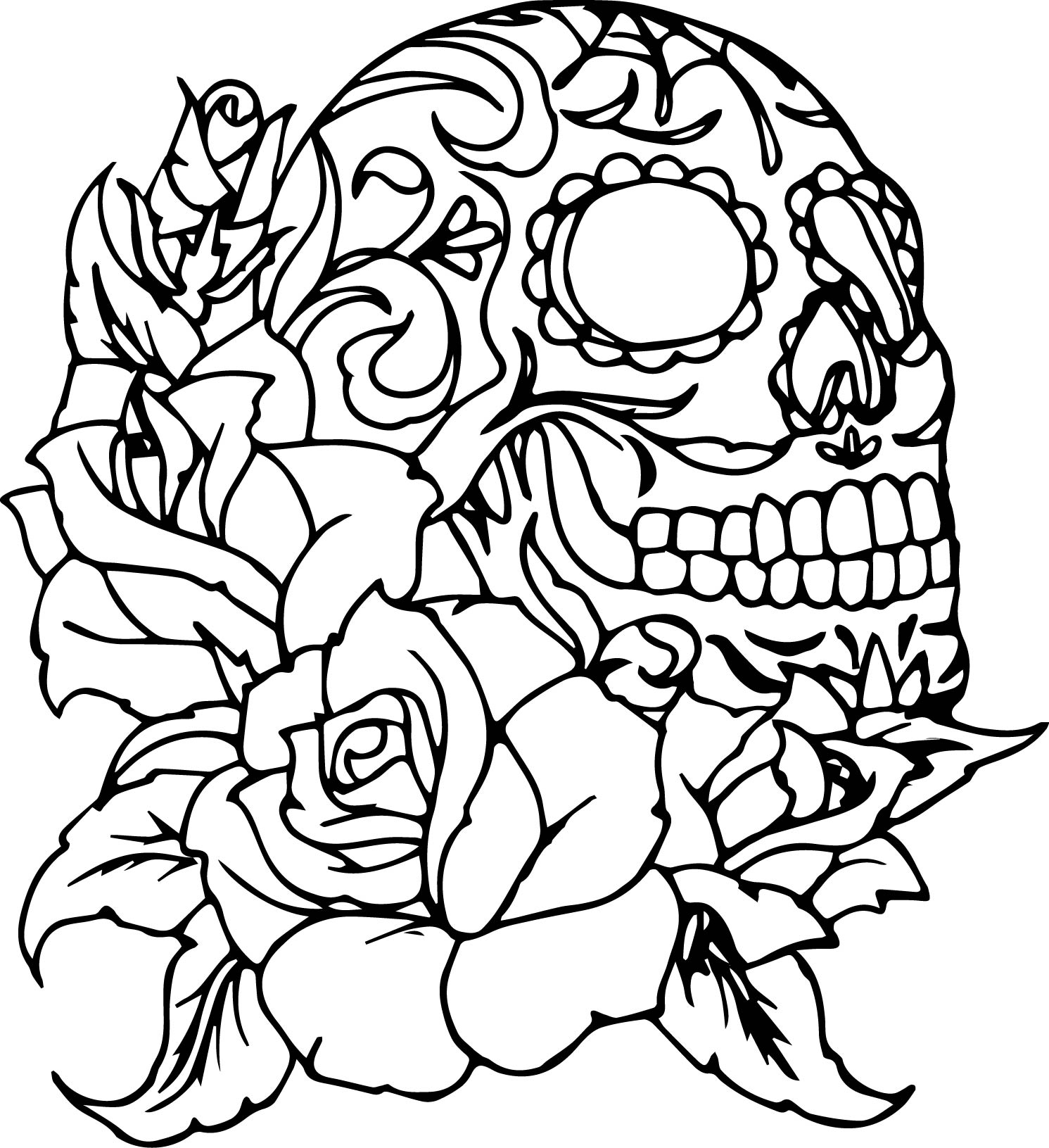 1491x1631 Coloring Pages Of Roses And Skulls Snap Cara