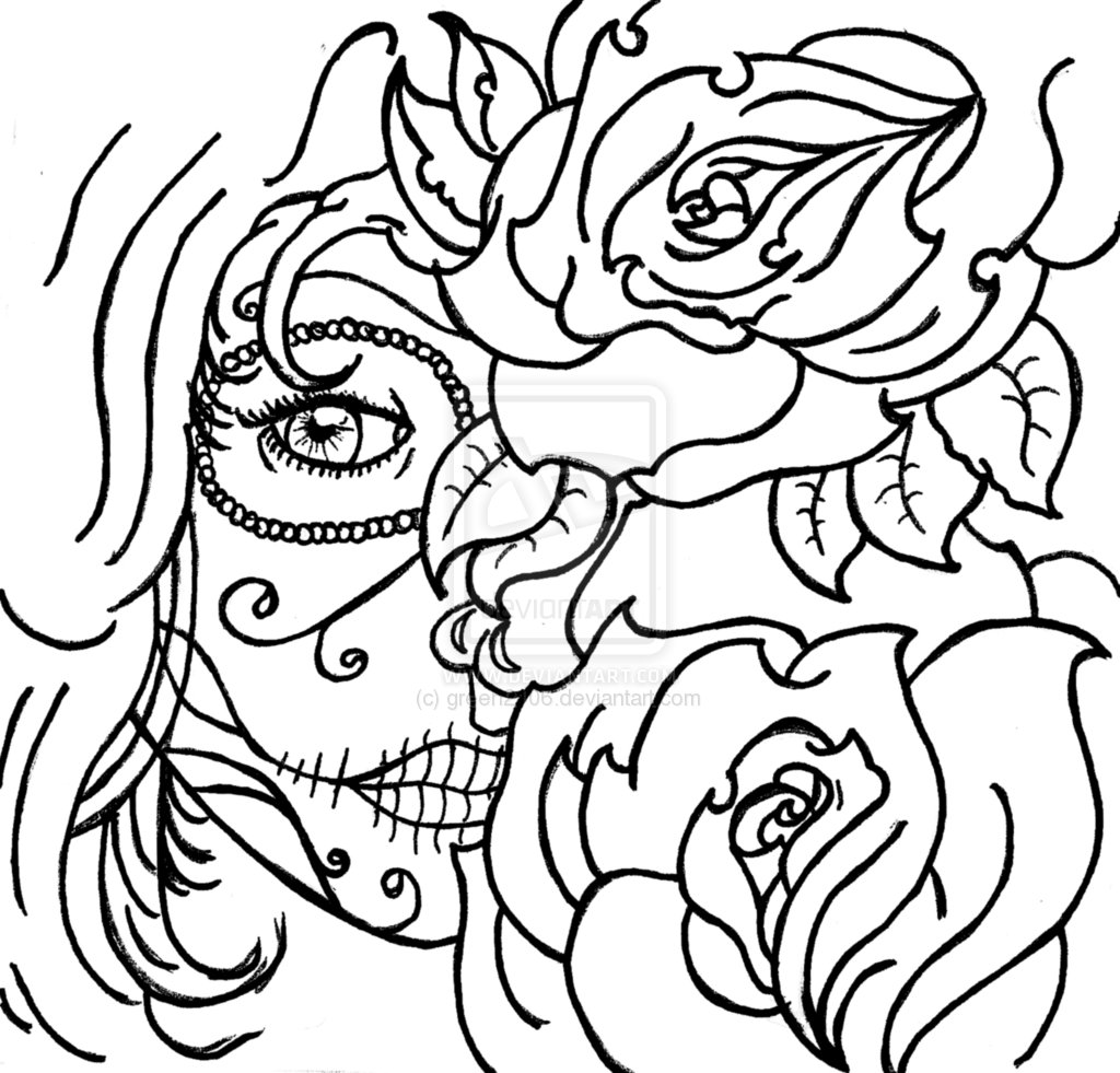 1024x981 Sugar Skulls And Roses Coloring Pages