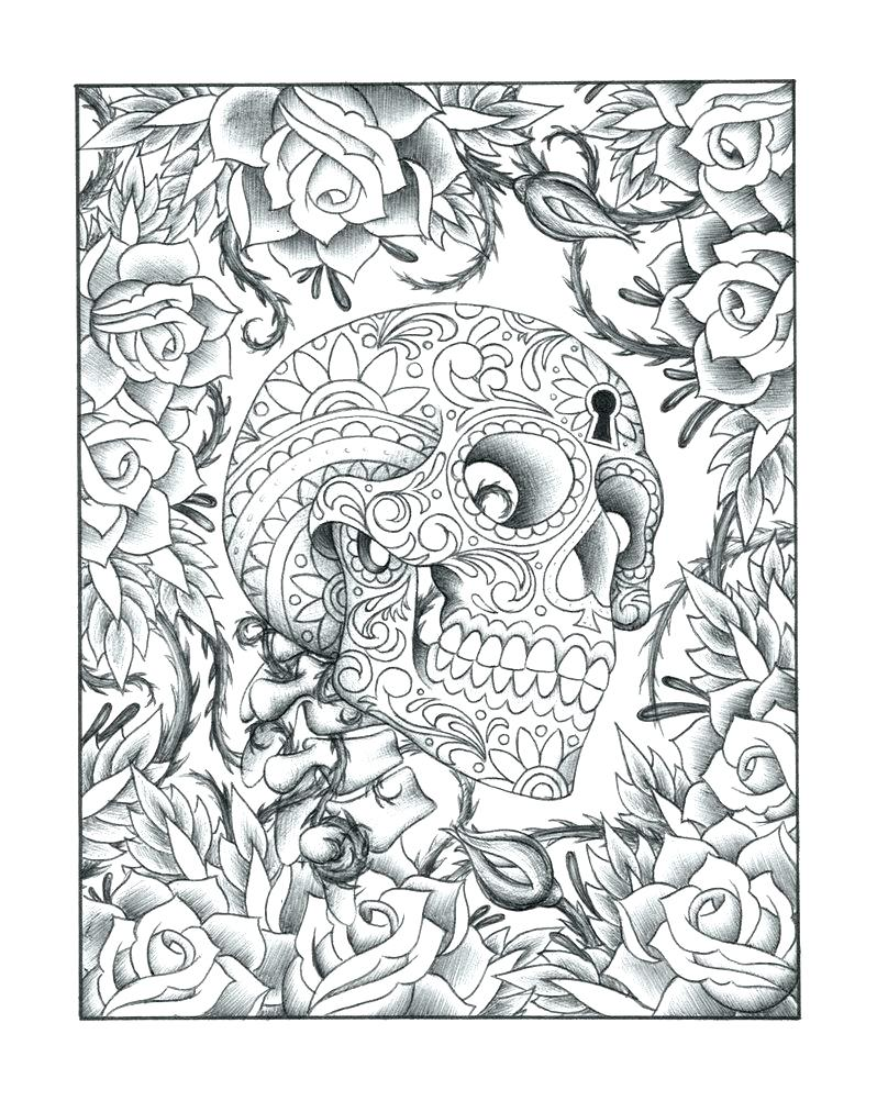 798x1002 Coloring Pages Sugar Skulls Coloring Pages Skull And Roses Page