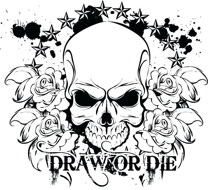 732x669 Coloring Pages Of Skulls Coloring Es Of Skulls And Roses Skulls