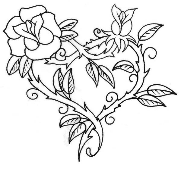 600x581 Hearts And Roses Coloring Pages