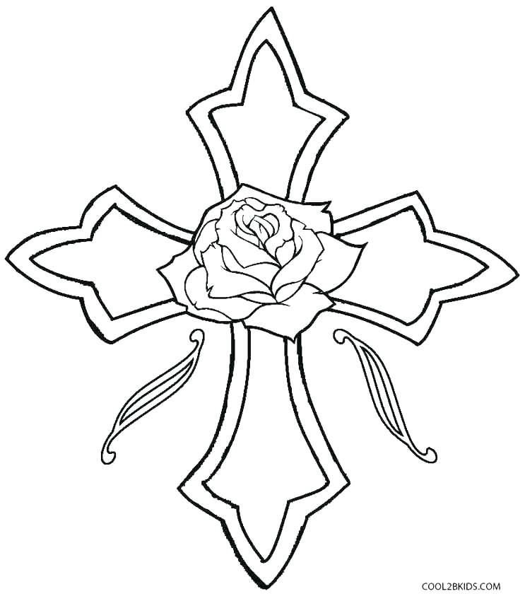 743x850 Coloring Pages Of Crosses Hearts And Roses Coloring Pages Cross