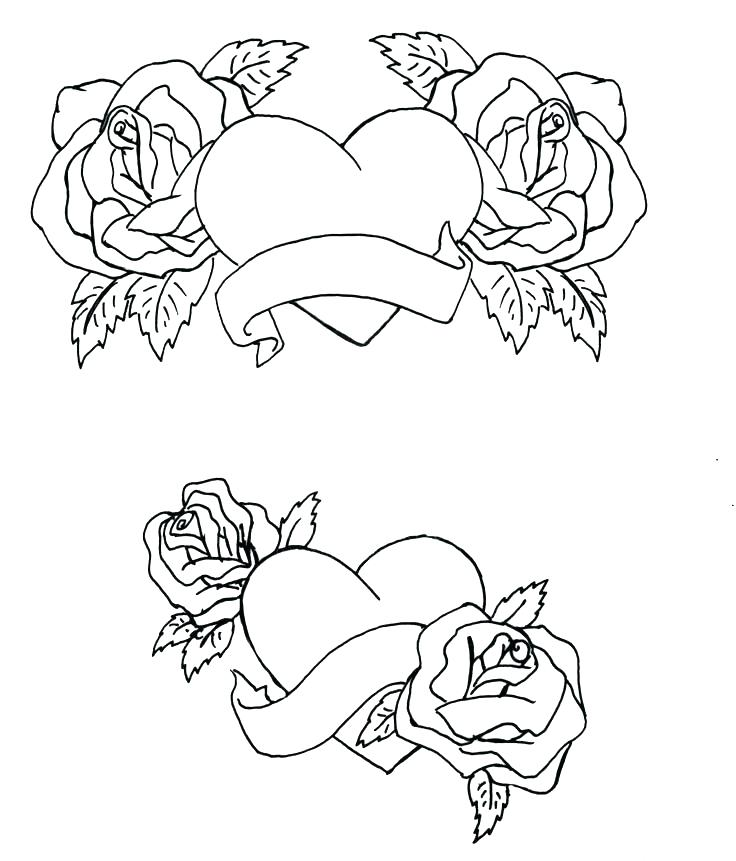 736x861 Coloring Pages Of Roses And Hearts Coloring Book Pages Of Roses
