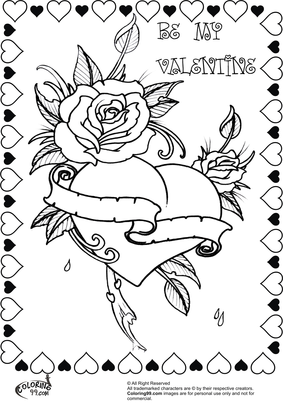 980x1400 Coloring Pages With Names On Them Rose Valentine Heart Minister