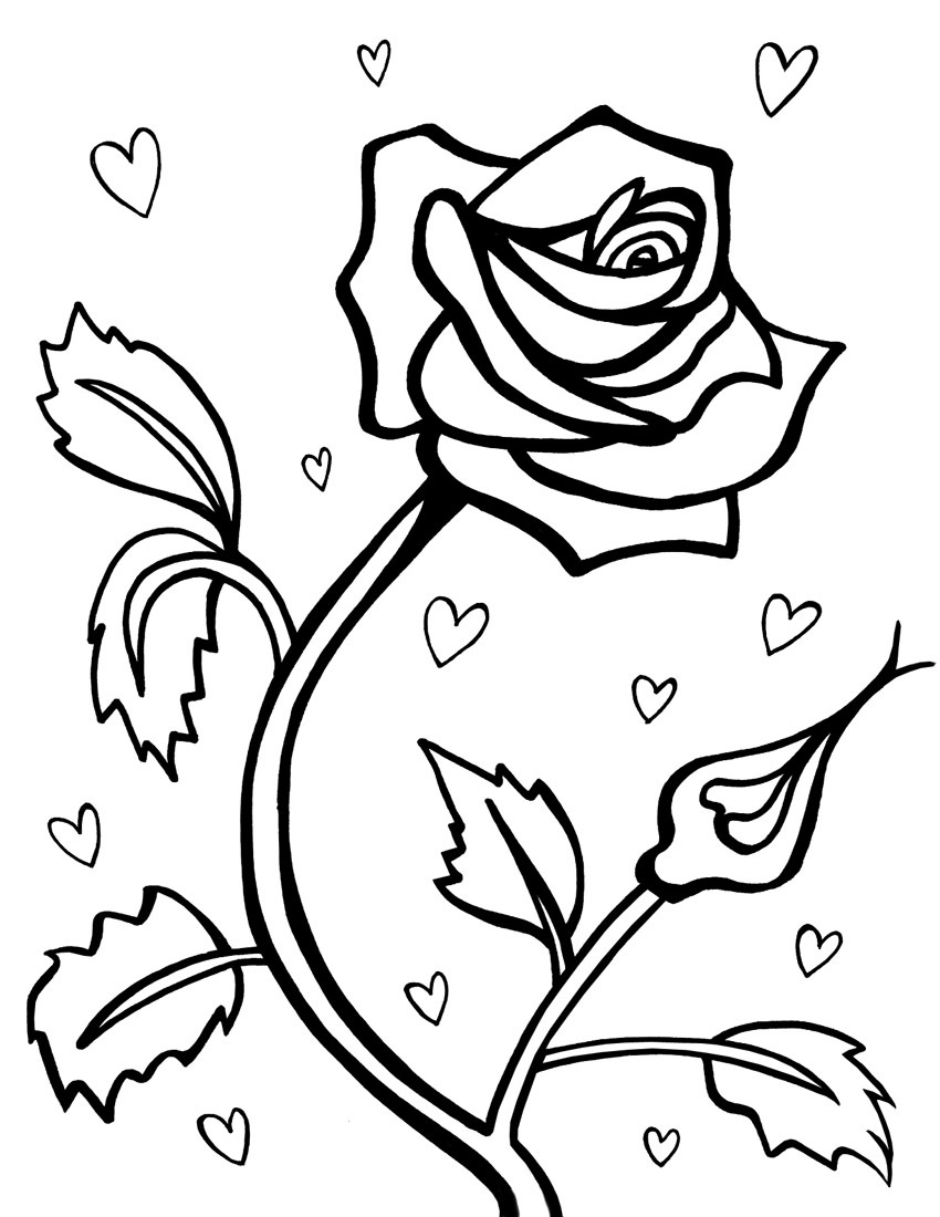 850x1100 Clever Design Ideas Coloring Page Of A Rose Hearts And Roses