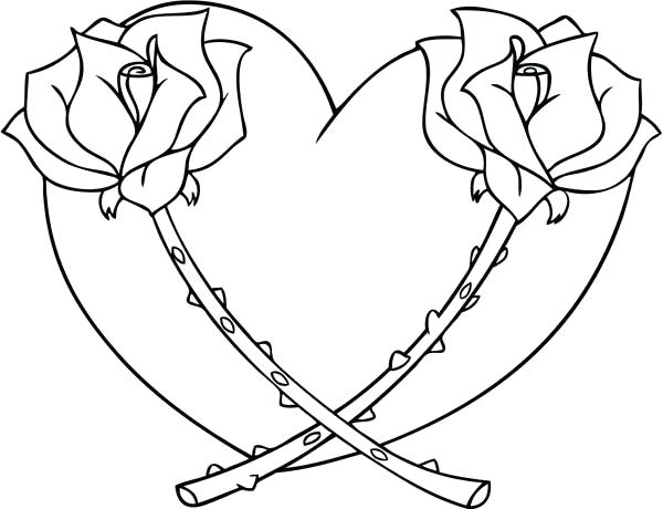 600x460 Color Pages Of Hearts Coloring Pages Hearts Hearts And Roses Full