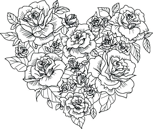 Roses With Hearts Coloring Pages at GetDrawings.com | Free for ...