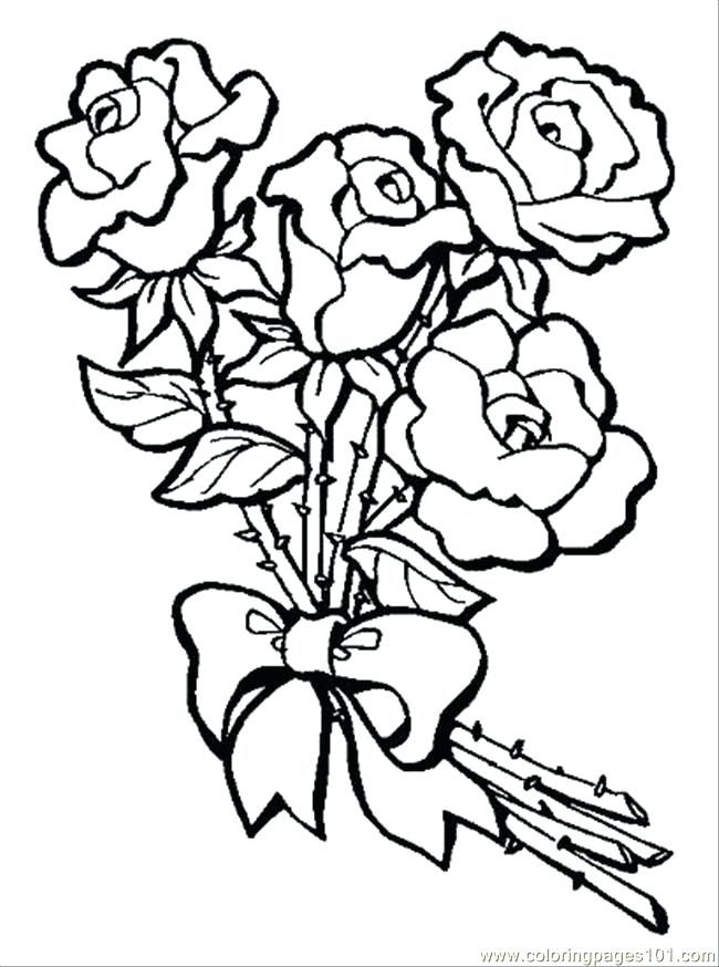 650x874 Bouquet Of Roses Coloring Pages Flower Bouquet Of Roses Coloring