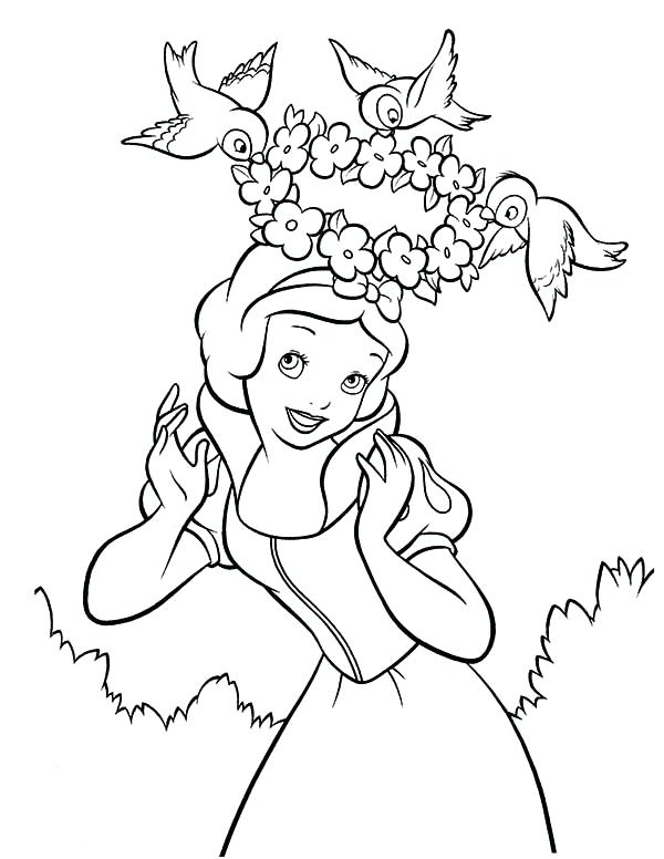 600x776 Crown Coloring Page Snow White And Her Floral Crown Coloring Page