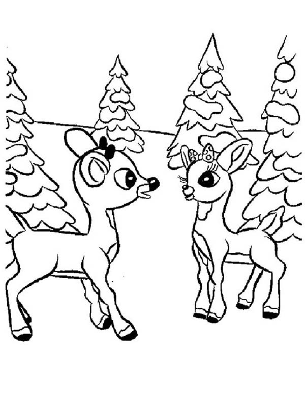 600x776 Rudolph And Clarice Talking Coloring Page Color Luna
