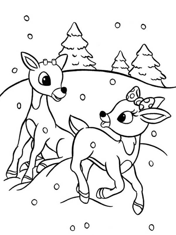 600x797 Rudolph And Clarice Are Santas The Reindeer Coloring Page Color Luna