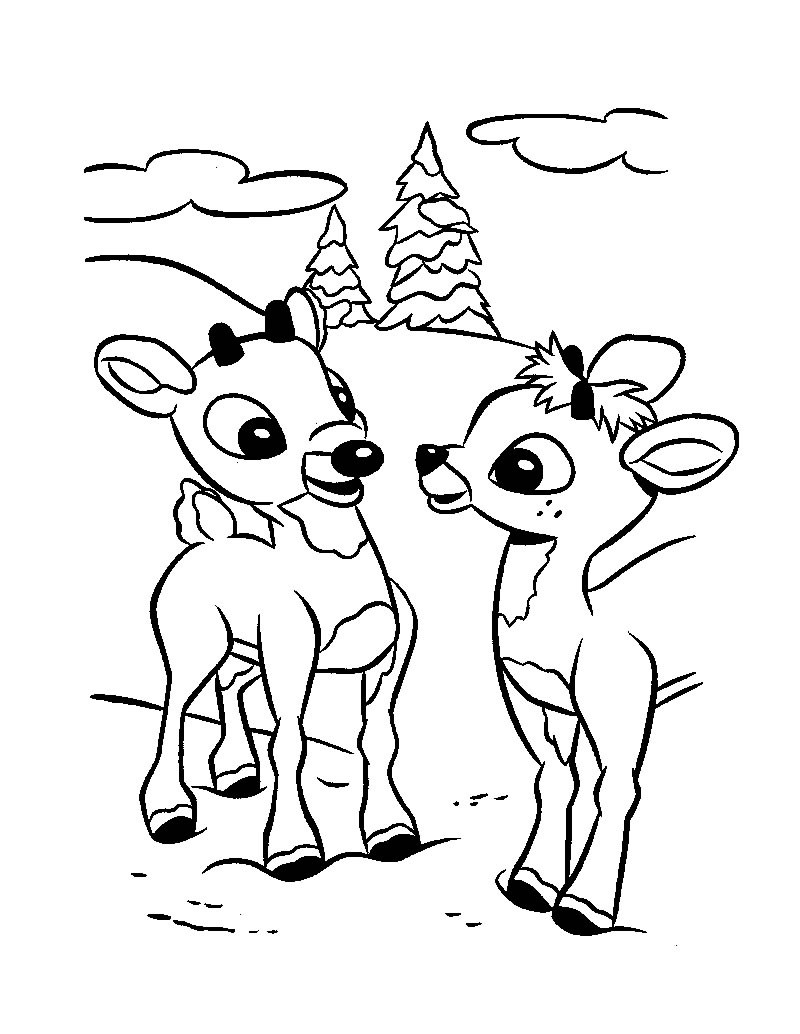 800x1034 Clarice The Reindeer Coloring Page