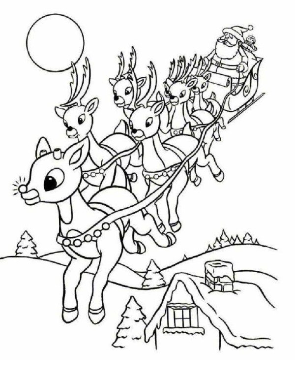 600x776 Rudolph And Santa Leigh Reindeers Coloring Page