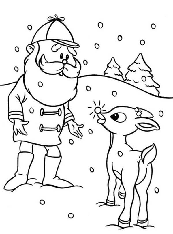 600x811 Rudolph Santa Colouring Pages Santa Ask Rudolph The Red Nosed