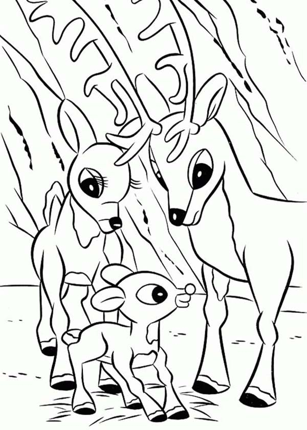 600x840 Rudolph The Red Nosed Reindeer Coloring Pages With Mom And Dad