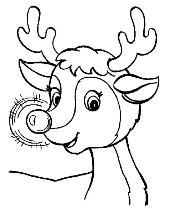 600x734 Awesome Red Nose Of Rudolph The Reindeer Coloring Page Color Luna