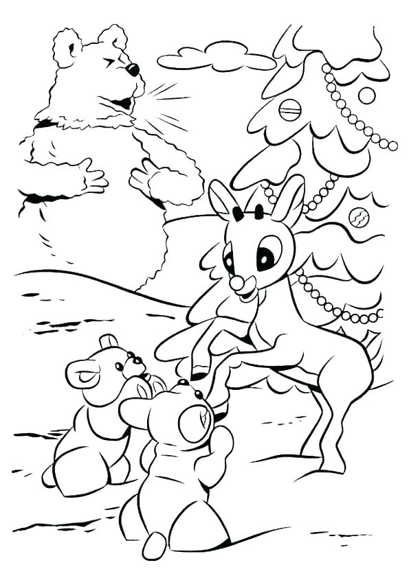 595x842 Printable Coloring Pages For Kids The Red Nosed Reindeer Coloring