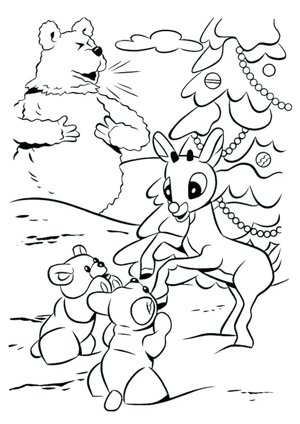 595x842 Coloring Pages Of The Red Nosed Reindeer The Red Nosed Coloring