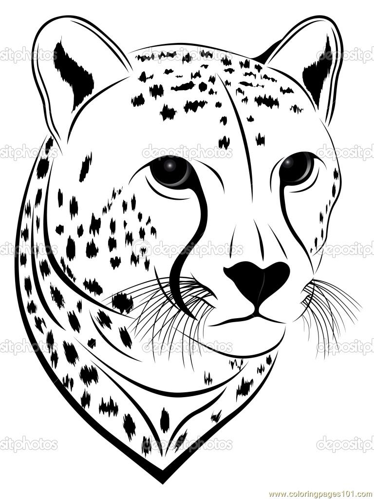 768x1024 Happy Cheetah Coloring Pages Online Face Page