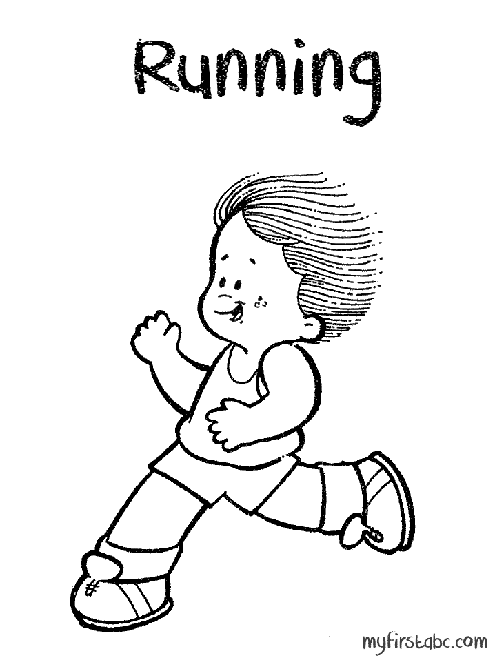 718x958 Running Kid Coloring Pages