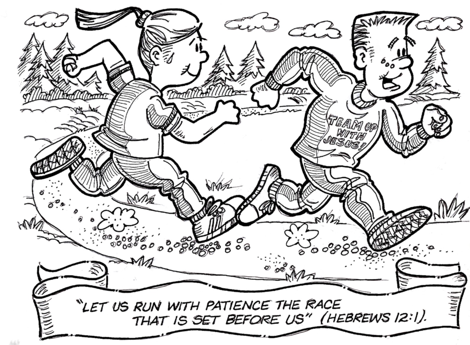 1592x1168 Running Race Coloring Page