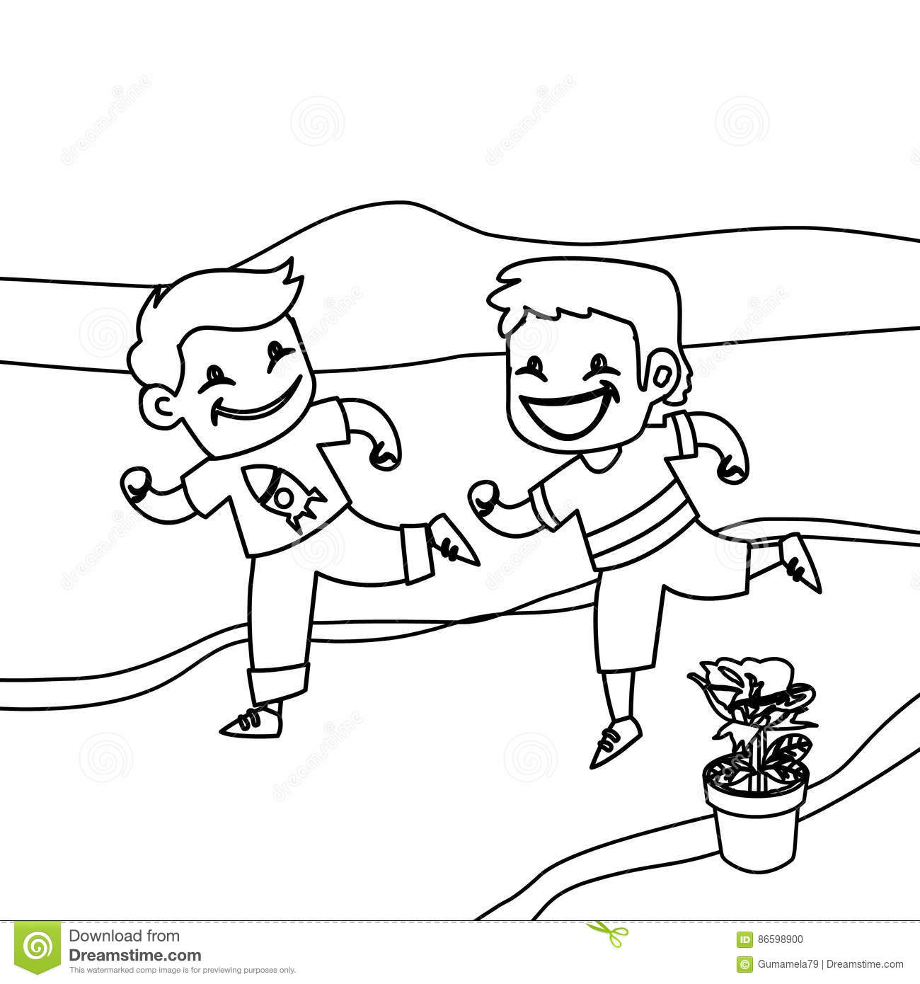 1300x1390 Children Running Coloring Page Hand Drawn Happy Kids