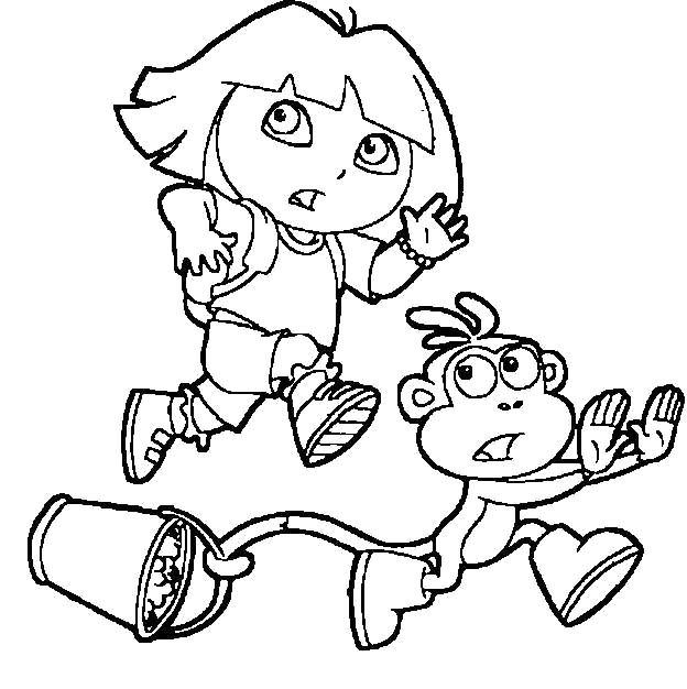624x626 Dora And Boots Running Coloring Pages Dora Running